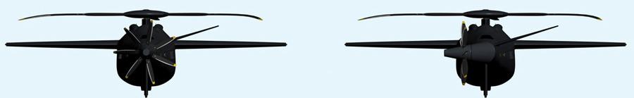 استفاده از روتور tilt در انتهای بالگرد AR40. قرارگیری کامل روتور در انتهای بالگرد (تصویر سمت چپ) برای ایجاد بیشترین سرعت و قرارگیری روتور در کنار دم (تصویر سمت راست) پایدارساز دم بالگرد در سرعتهای کم.